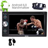 Free Camera + Android 6.0 Car Stereo Autoradio System Double 2 DIN Audio Video Receiver Wifi 3G/4G Dongle 1080P OBD2 Mirror Link