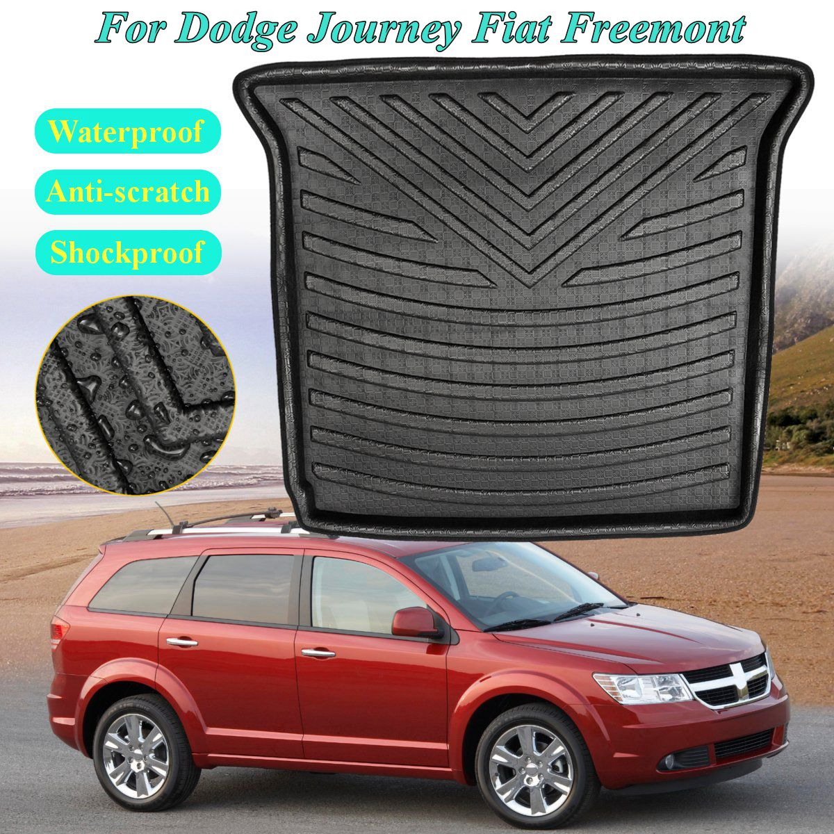 Rear Cargo Liner Boot for Dodge Journey for Fiat Freemont Seat Models  2009 2010 2011-2018 5&7 Trunk Floor Mat Tray CarpetRear Cargo Liner Boot for Dodge Journey for Fiat Freemont Seat Models  2009 2010 2011-2018 5&7 Trunk Floor Mat Tray Carpet