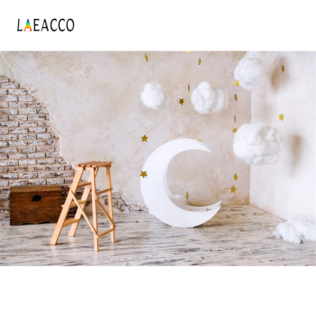 Laeacco Brick Wall Moon Model Cotton Clouds Baby Photography Backgrounds Customized Photographic Backdrops For Photo Studio