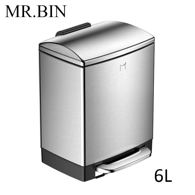 MR. BIN 6L/12L 410 мусорное ведро из нержавеющей стали с увеличенной педалью бытовой очистки современная простая мусорная урна - Цвет: 6L