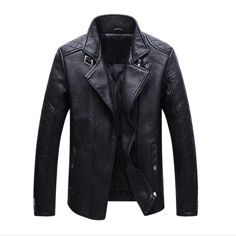 2018 New Autumn Mens PU Leather Jacket Slim Fit Motorcycle Jacket Zipper Casual Leather Coat Male Outerwear jaqueta de couro