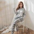 Novo 2016 Outono Plus Size Conjuntos de Pijama Das Mulheres O Pescoço Mulheres Manga Comprida Pijamas Pijamas Meninas Pijama Mulher Femme Pijama pijama