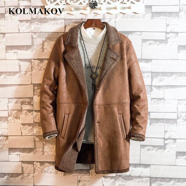 KOLMAKOV New Men's Clothing Fashion Mens Long Windbreakers Mans Cashmere Liner Trench Coats Large Size M-5XL Overcoats for Men