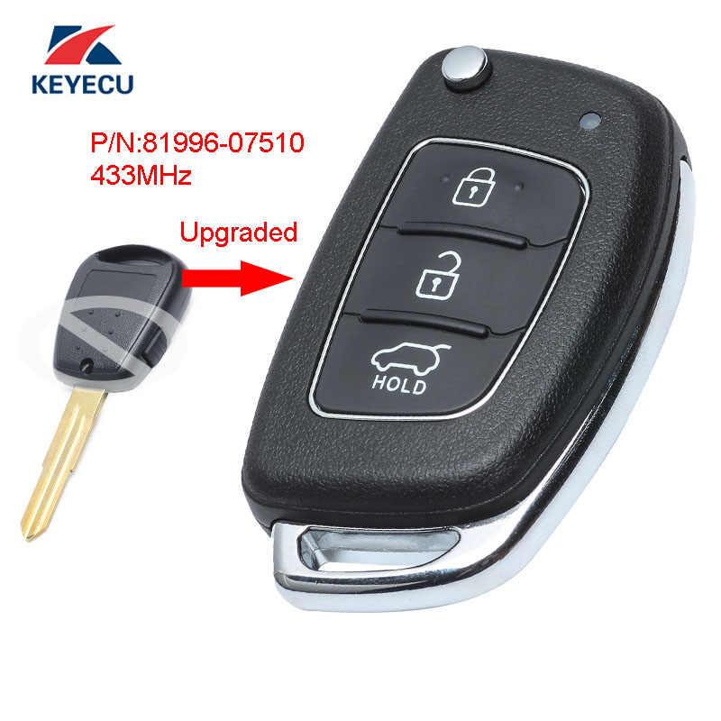 Keyecu Upgraded Flip Remote Car Key Fob Side 1 Button 433MHz ID46 for KIA Picanto 2007-2009 P//N 81996-07510