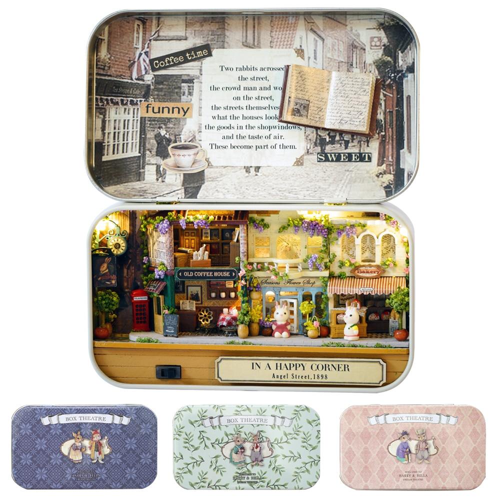Caja de teatro, mueble miniatura para Casa de muñecas, juguete DIY, muebles para Casa de muñecas en miniatura, juguetes para niños, regalo de cumpleaños Q4