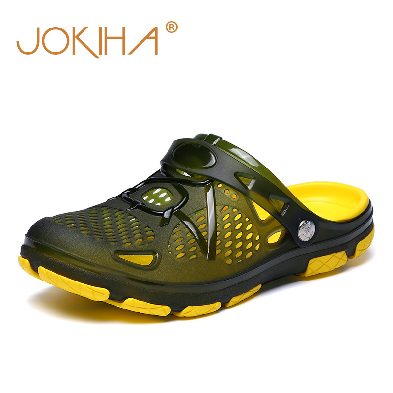 2018 Summer Men's Beach Breathable Slippers TPU Garden Mule Clogs Shoes For Men Male Sandals 41-45