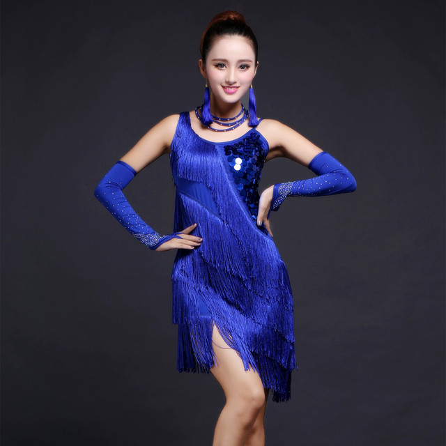 2019 Hot Selling Latin Dance Dress Sequins Cha Cha Tango Bollywood Dancing  Skirt Stage Performance Wear 5 Colors 99fa7c52e398