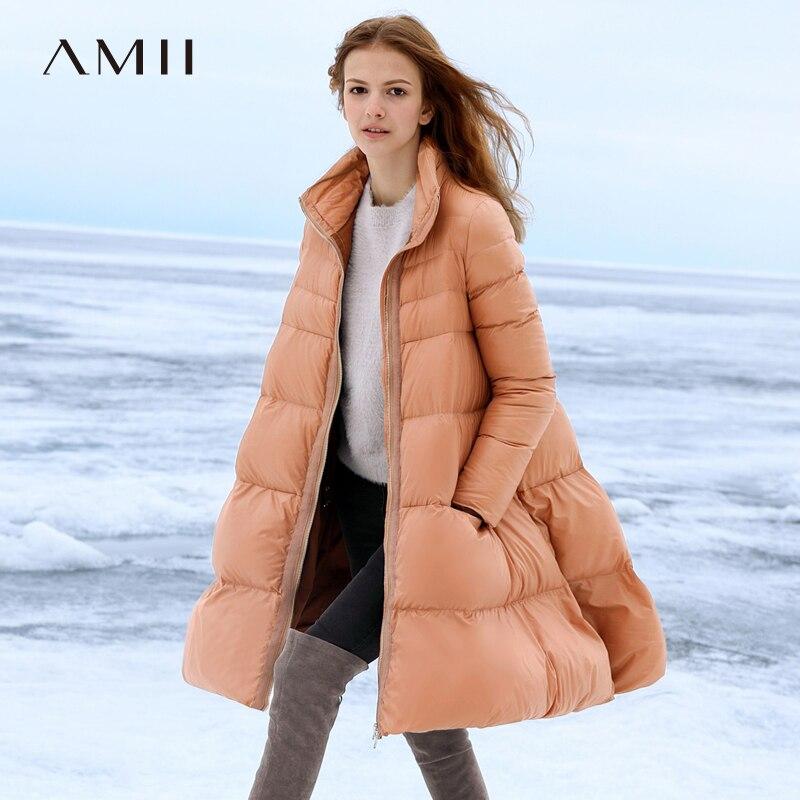 Amii минималистский линия вниз куртка женщина осень толстые 2018 Причинно Твердые молнии непромокаемый пуховик пузырь длинный пуховик Куртка