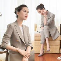 2018 autumn new women Pants suit sets with the same paragraph double breasted Blazer+pants two sets of Office Lady Pants suit