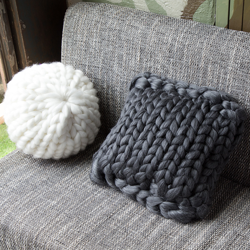 Handmade Square Chunky Wool Pillow Chair Cushion Knit Throw Knitting Home Pillow Cushion Birthday Christmas Gift-in Decorative Pillows from Home & Garden