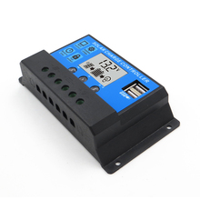 10A 20A 30A 12V 24V LCD Display solar charger PWM solar charge controller USB 5V used for lead acid battery