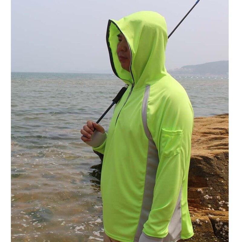 Человек Рыбалка рубашка Anti UV одежда пуловер с капюшоном Защита от солнца дышащий Для мужчин быстросохнущая Рыбалка свитер носит восхождени...