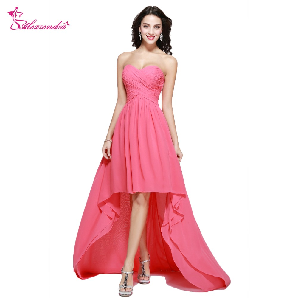 Alexzendra Beaded Pleats Cheap High Low   Prom     Dresses   Plus Size Sweetheart Evening   Dress   Party   Dress   for Girls