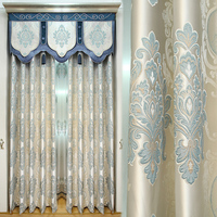 Custom curtains Simple European luxury living room jacquard upscale noble bedroom cloth blackout curtain tulle valance N299