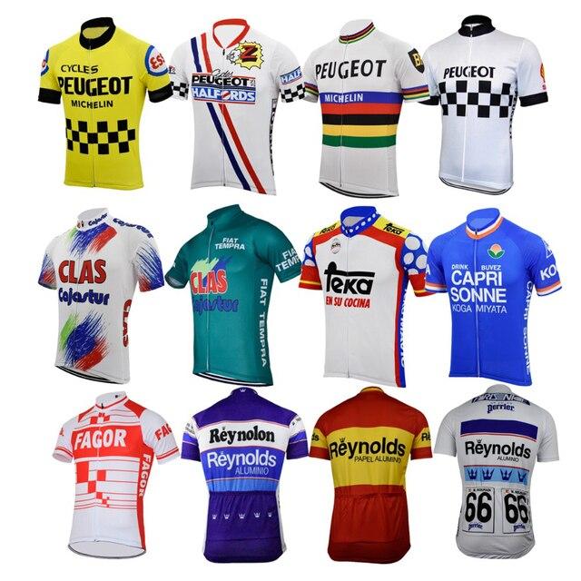 ผู้ชาย Peugeot ขี่จักรยาน JERSEY ฝรั่งเศสสเปนจักรยาน Retro Blue เสื้อผ้าจักรยานสวมเสื้อผ้าแข่งขี่จักรยานเสื้อผ้า braetan