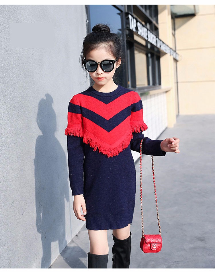 2017 new knitting tassels girls sweater spring autumn winter casual children school clothing preppy style knitted kids sweaters girls dresses 6 7 8 9 10 11 12 13 14 15 16 years old little teenage big girls long sweater dress (13)