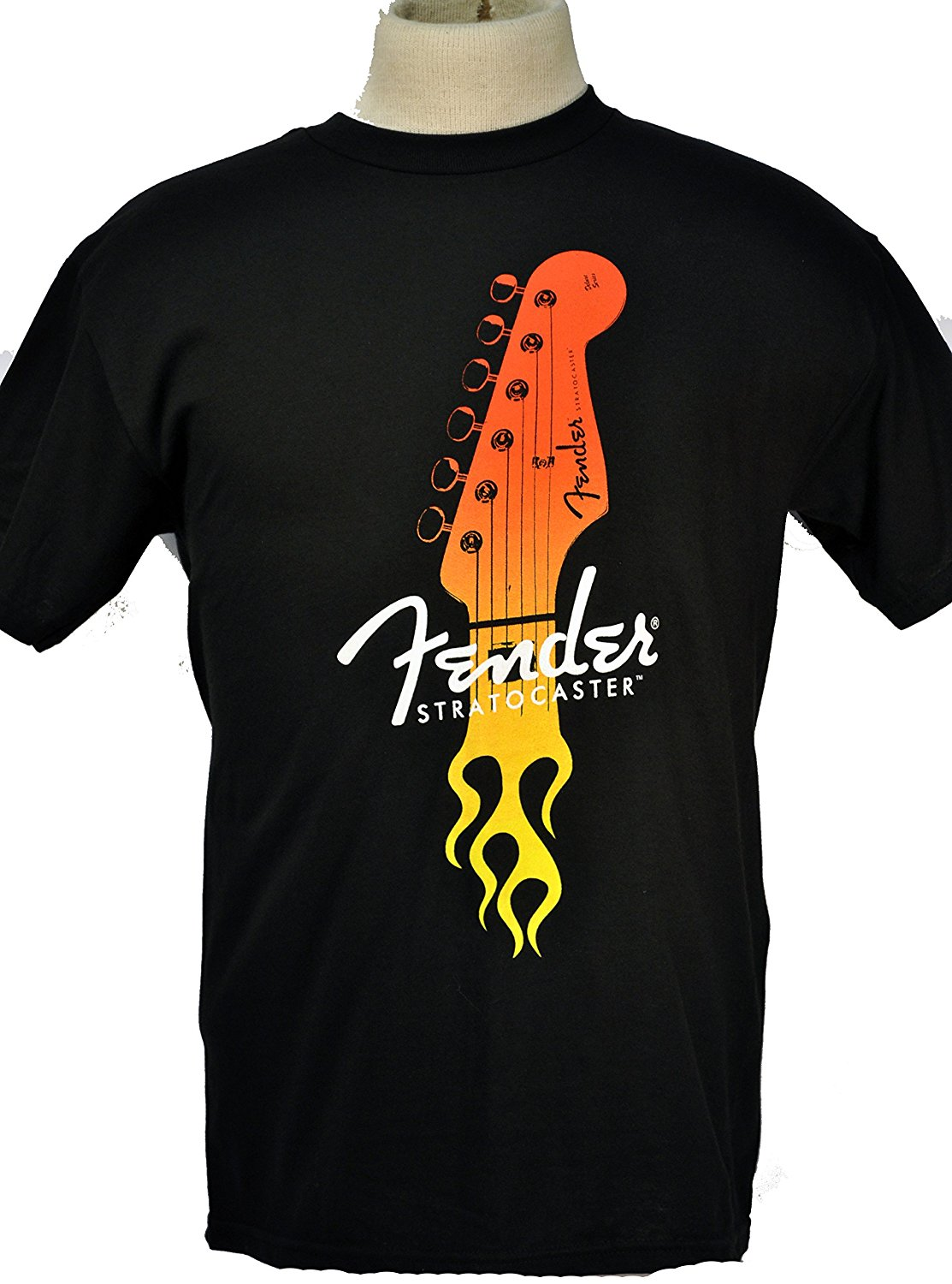2017 Latest Funny New High Quality Casual Men Crew Neck Short-Sleeve Fender Flaming Stratocaster Guitar T-Shirt
