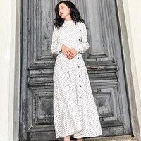 LANMREM 2018 New Fashion Black White Dot Retro Button Dress Female's Long Sleeve Shirt Type Dress Vestido YE811