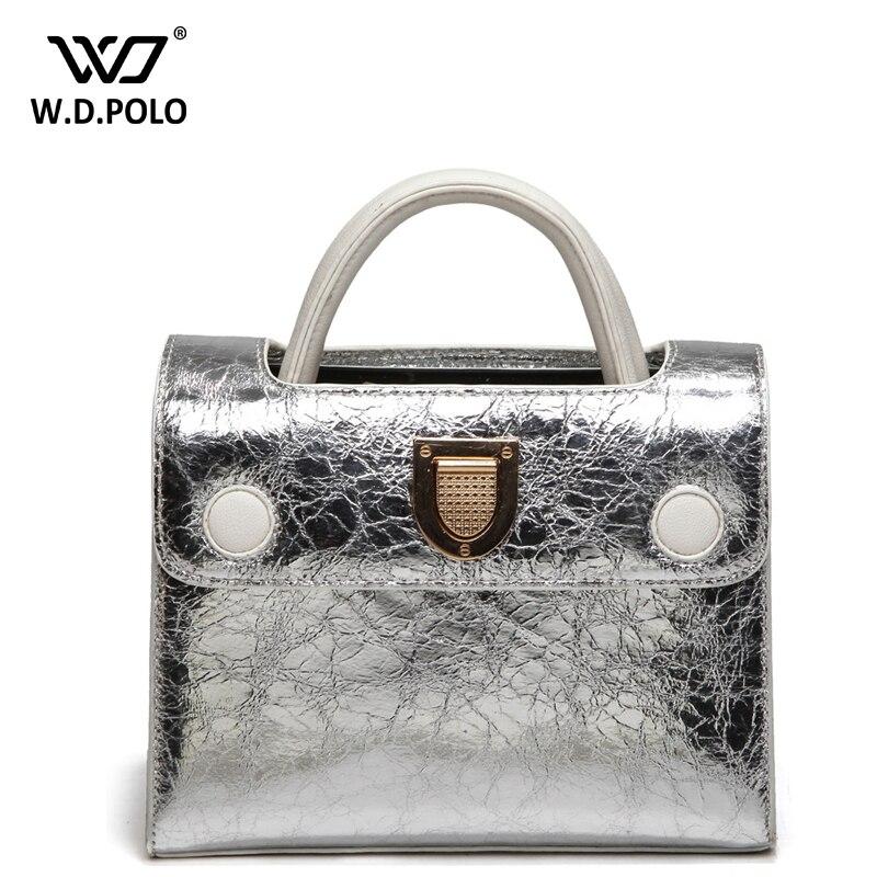 WDPOLONew rama brand design leather women handbags silver and gold shinning color easy matching shoulder bags chic M1974 системный блок asus vc66 b009z черный