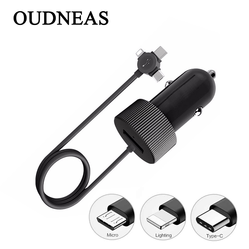 OUDNEAS USB Car Charger For iPhone X 7 Phone Car-charger With Micro USB Type c Lighting Cable For Samsung S9 S8 Plus
