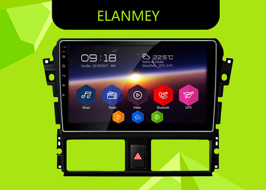 Elanmey GPS 8Core Bluetooth stereo android 8 1 0 car multimedia player for toyota vios yaris