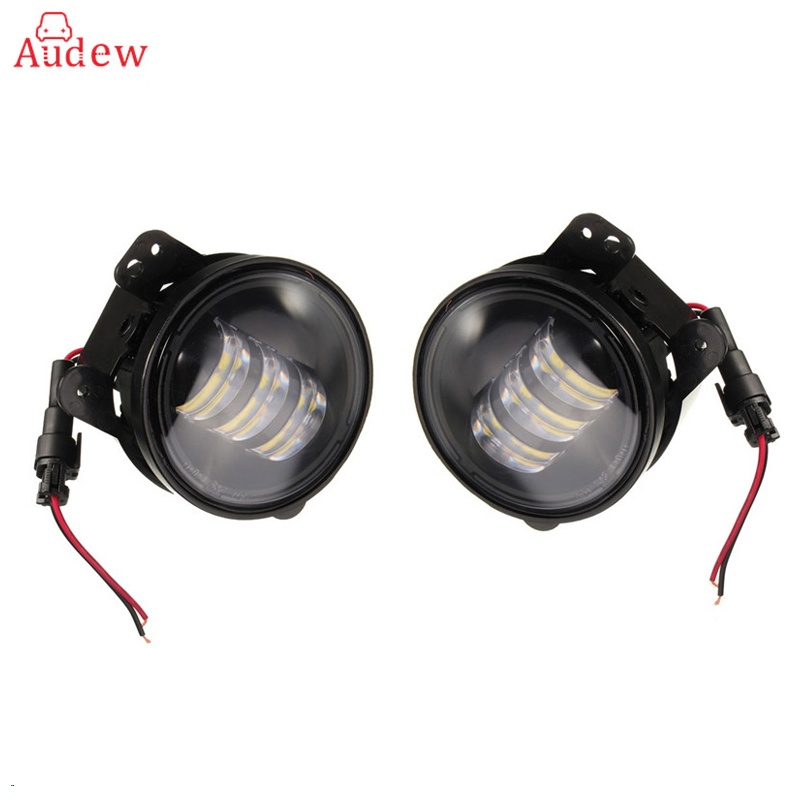 2PCS 4 Inch 30W LED Fog Light For Jeep/Wrangler/JK 07-14/Dodge/Magnum LED Chip Lamp Auto DRL Lighting Led Headlamp windshield pillar mount grab handles for jeep wrangler jk and jku unlimited solid mount grab textured steel bar front fits jeep