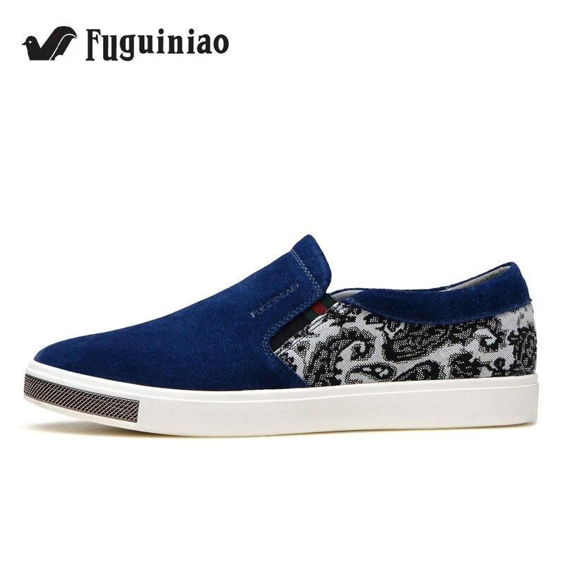 Darmowa dostawa! FUGUINIAO krowa Suede mężczyźni płaskie buty/mokasyny/rekreacyjne buty/buty do jazdy samochodem/kolor niebieski, szary/rozmiar 38 44 w Męskie nieformalne buty od Buty na  Grupa 2