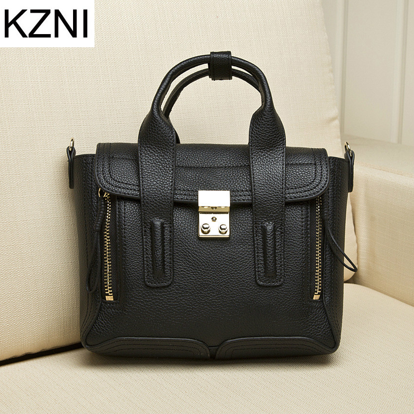 KZNI Genuine Leather Purse Crossbody Shoulder Women Bag Clutch Female Handbags Sac a Main Femme De Marque  L030632 women genuine leather character embossed day clutches wristlet long wallets chains hand bag female shoulder clutch crossbody bag