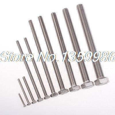 5Pcs National Standardized M8X140mm Outside Hex Drive SUS304 Hexagon Screw Bolt