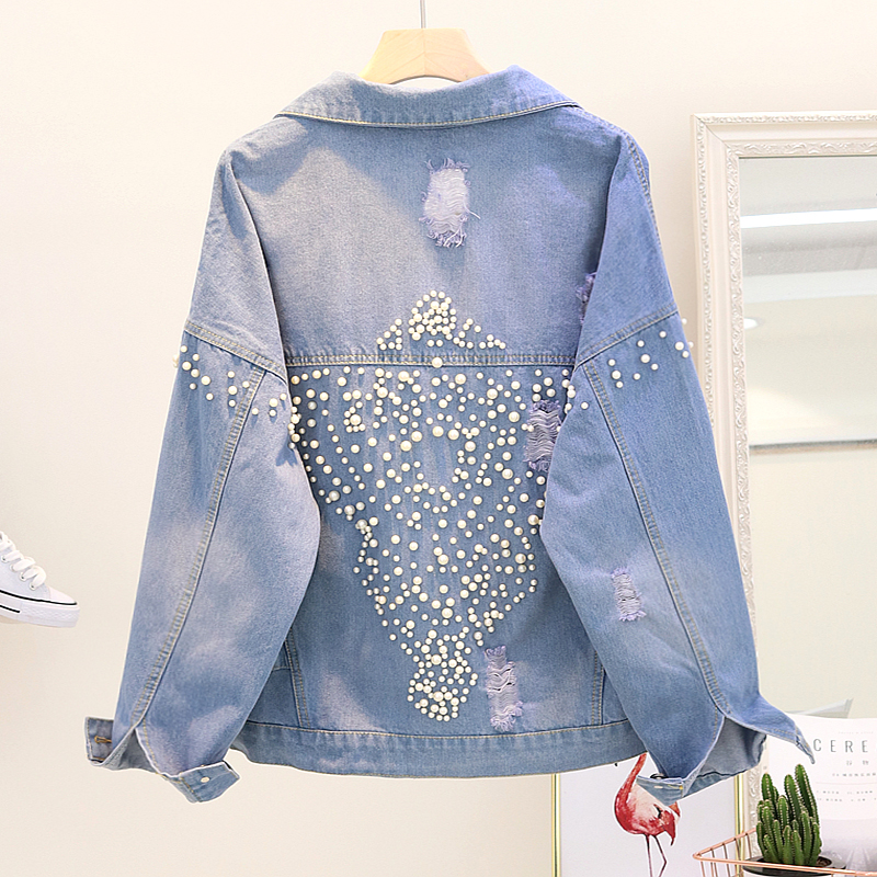 Fashion Holes Jean Coat Girls Vintage Beads Loose Denim   Jackets   2018 Autumn New Womans Students Casual Jeans Coats   Basic     Jacket