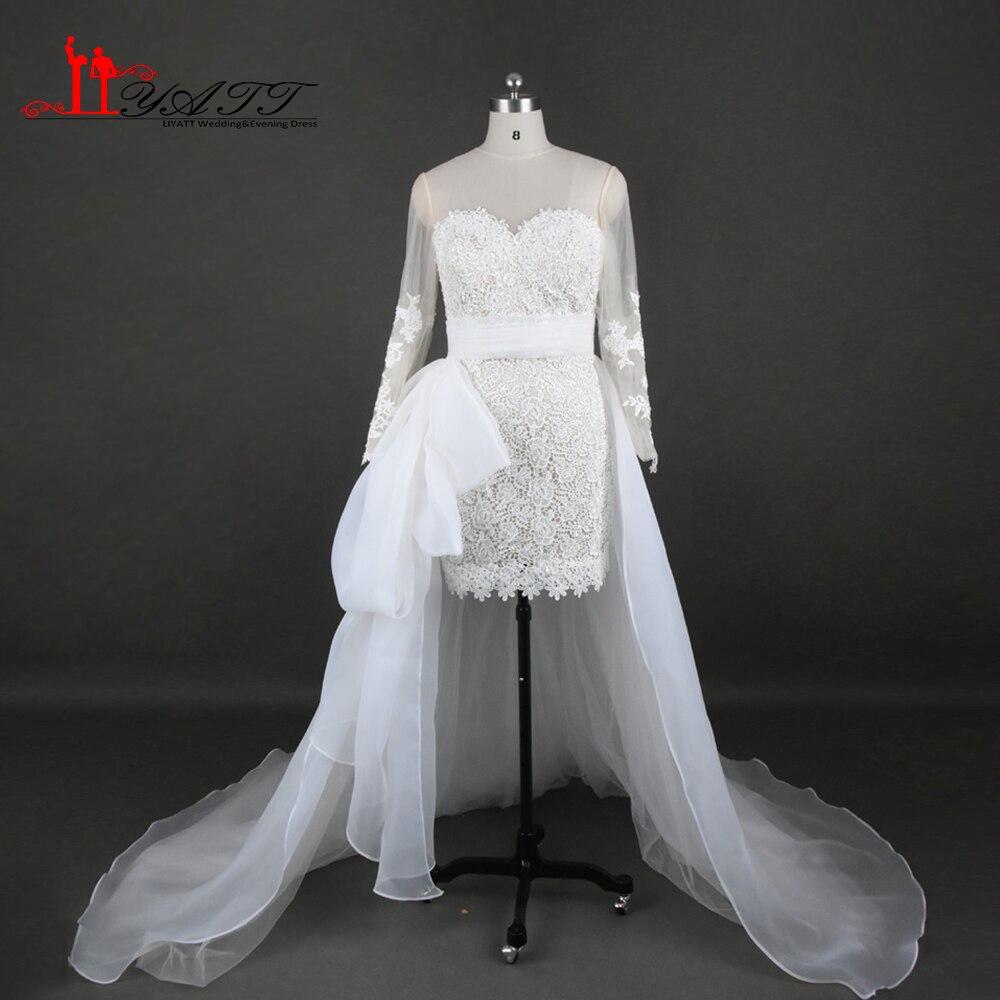 Arabic Vintage Chagne O Neck Sheer Long Sleeve Lace Short Wedding Dresses With Train 2017 Bride Gowns Custom Made Liyatt: Short Wedding Dresses Sheer Train At Websimilar.org