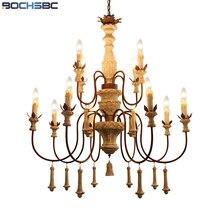 BOCHSBC, lámpara colgante americana de madera grabada, colgante de una lámpara de tres capas Vintage, aplicable a salón estudio comedor