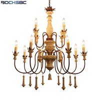 BOCHSBC American Wooden Engraved Pendant Lights One Two Three Layer Vintage Lamp Pendant Apply to Parlor Dinning Room Study Room
