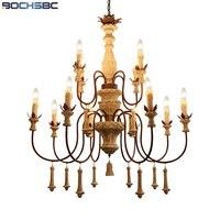 Bochsbc Американский деревянный выгравированы Открытый Подвесные Светильники один, два, три Слои Винтаж светильник подвесной применяются к ка