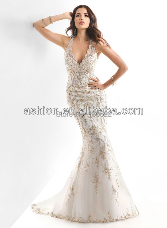 We 1783 Free Shipping Fancy Illusion Neckline White And Gold Wedding