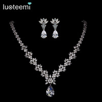 LUOTEEMI Style Arrive Fashion Pear Shape Crystal Zircon Wedding Jewelry Sets for Brides Luxury Bridal Necklace and Earrings Sets