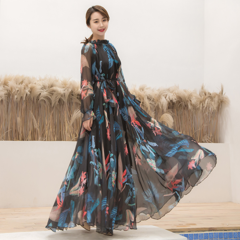 New Tropical Long Sleeve Floral Holiday Beach Bridesmaid Maxi Dress Sundress Plus size Party maxi dress