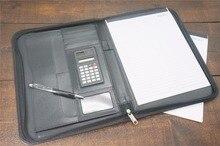 manager 古典革 オフィススクールビジネスドキュメントバッグ ファイルフォルダホルダーソーラー電卓メモ