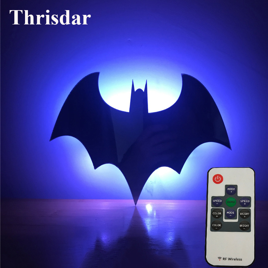 Thrisdar RGB 3D Batman Led Night Light Novelty Mirror Wall Lamp With Remote Baby Kids Bedroom Background Lamp Gift for Christmas
