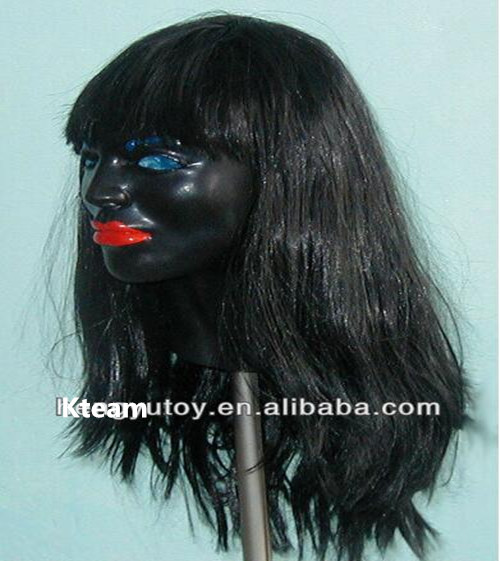 Top Grade 100% Latex Fancy dress Costume Latex crossdressing female mask Human Mask with Long Hair for Party Cosplay Free size