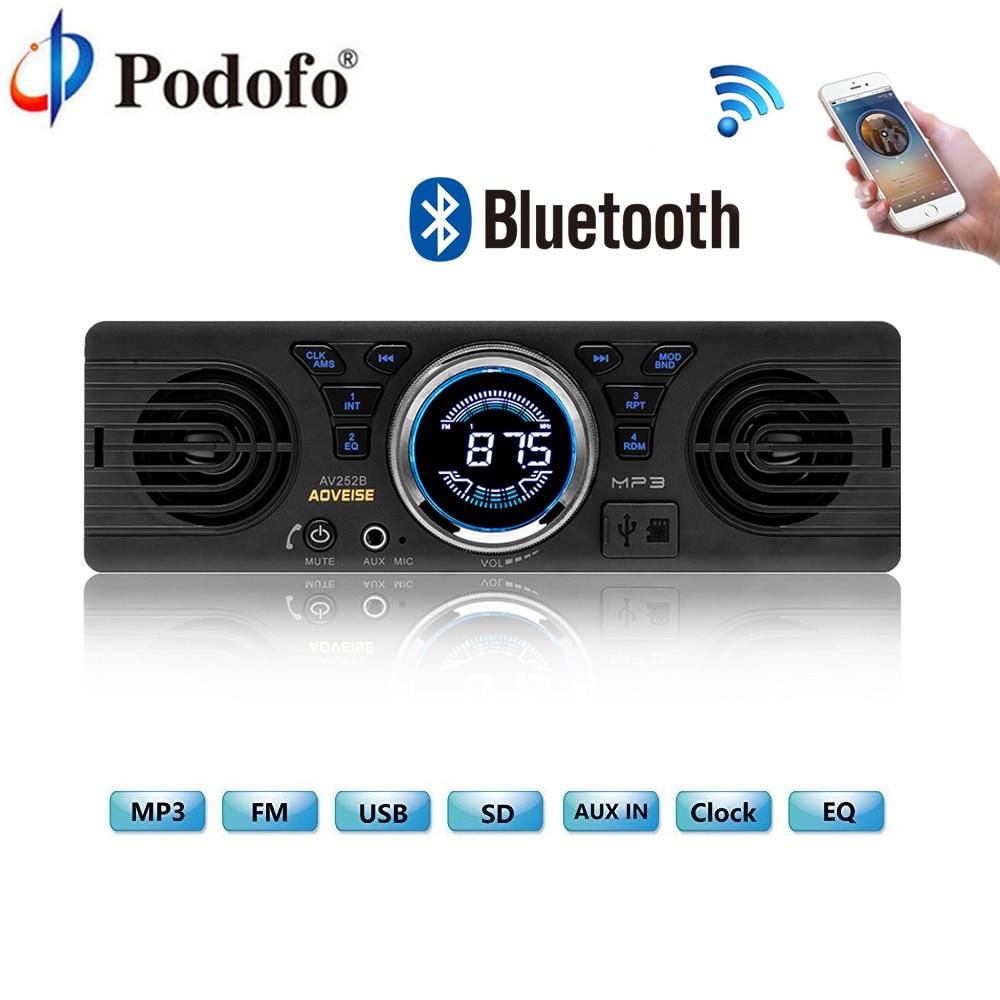 Podofo AV252B 12 v Bluetooth Universale Car Multimedia Lettore 1din In-dash MP3 Audio Player Car Stereo Autoradio FM USB/TF Della Macchina Fotografica