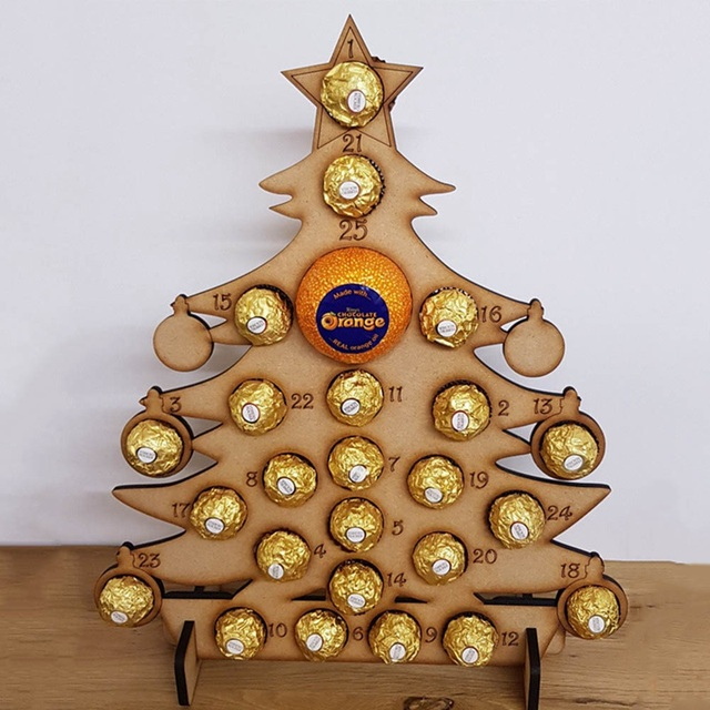 Us 9 35 9 Off Christmas Wooden Advent Calendar Christmas Tree Decoration Countdown Modeling Calendar Chocolate Display Stand For Xtmas Decor In