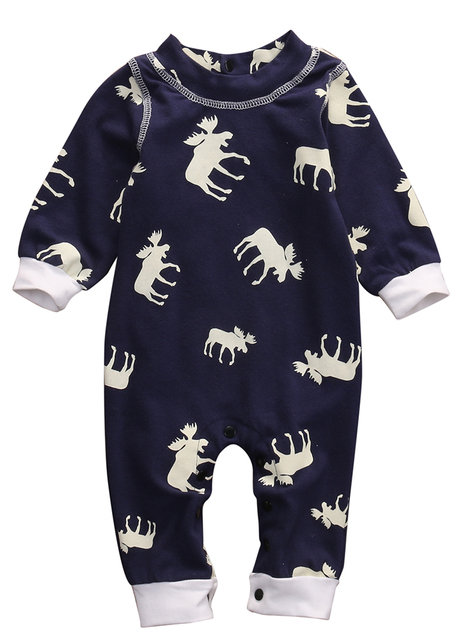 d07a5dac8b88 Newborn Infant Baby Girl and Boy Moose Cotton Woven Bodysuits Jumpsuits  Outfits Christmas Clothes Sets