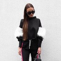 Hongwei Autumn Winter Plush Patchwork Hoodie Sweatshirt 2017 Women Casual Long Sleeve Turtlneck Pullover Tops