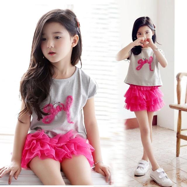 2016 nueva primavera y el verano de los niños de dos piezas traje de niña Culottes + de manga corta T-shirt traje de niño grande de algodón Set venta al por mayor