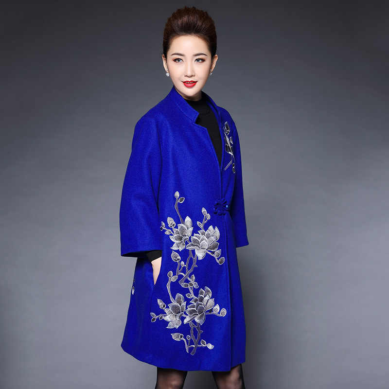 Middle Aged Mom Womens Elegant National Wool Coat For Autumn Winter New Retro Loose Style Long Female Embroidery Coat Outwear