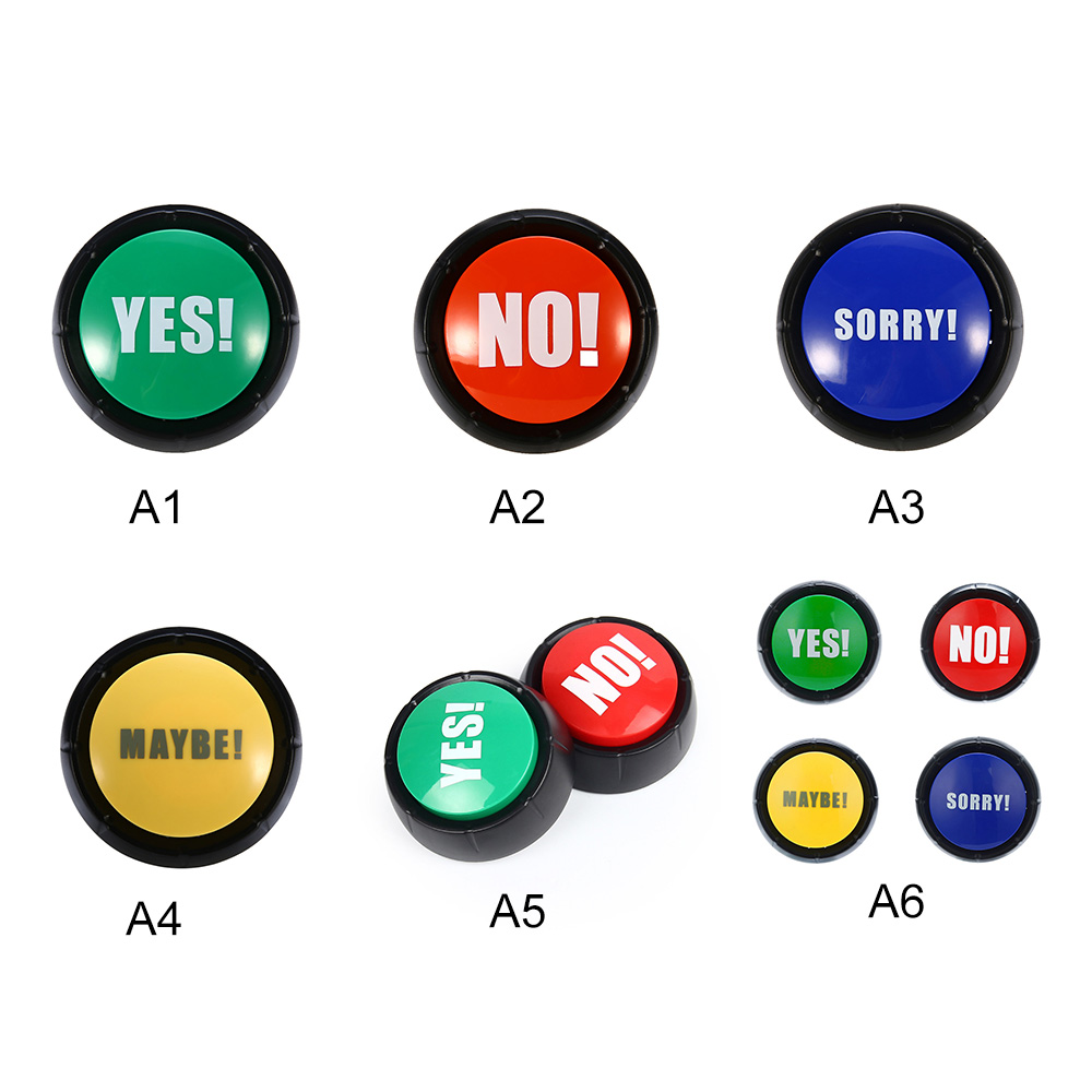 Electronic Round Toy Squeeze Box Sound Button Show Yes / No Sound Toys Party Tools Supplies Sounding Toys Holiday Decorations