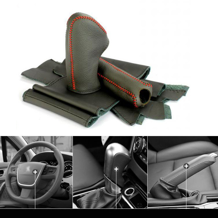 ФОТО Top Cowhide Leather Wheel Cover&Gear Cover&Hand Hold Cover For Peugeot 508 AT