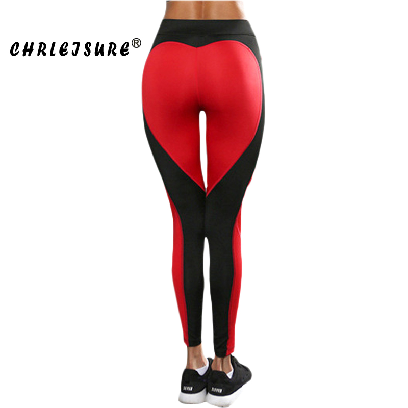 CHRLEISURE S-L Heart Shape   Leggings   Women New Red Black Color Patchwork Print Leggins Big Size High Elasticity Fitness   Leggings