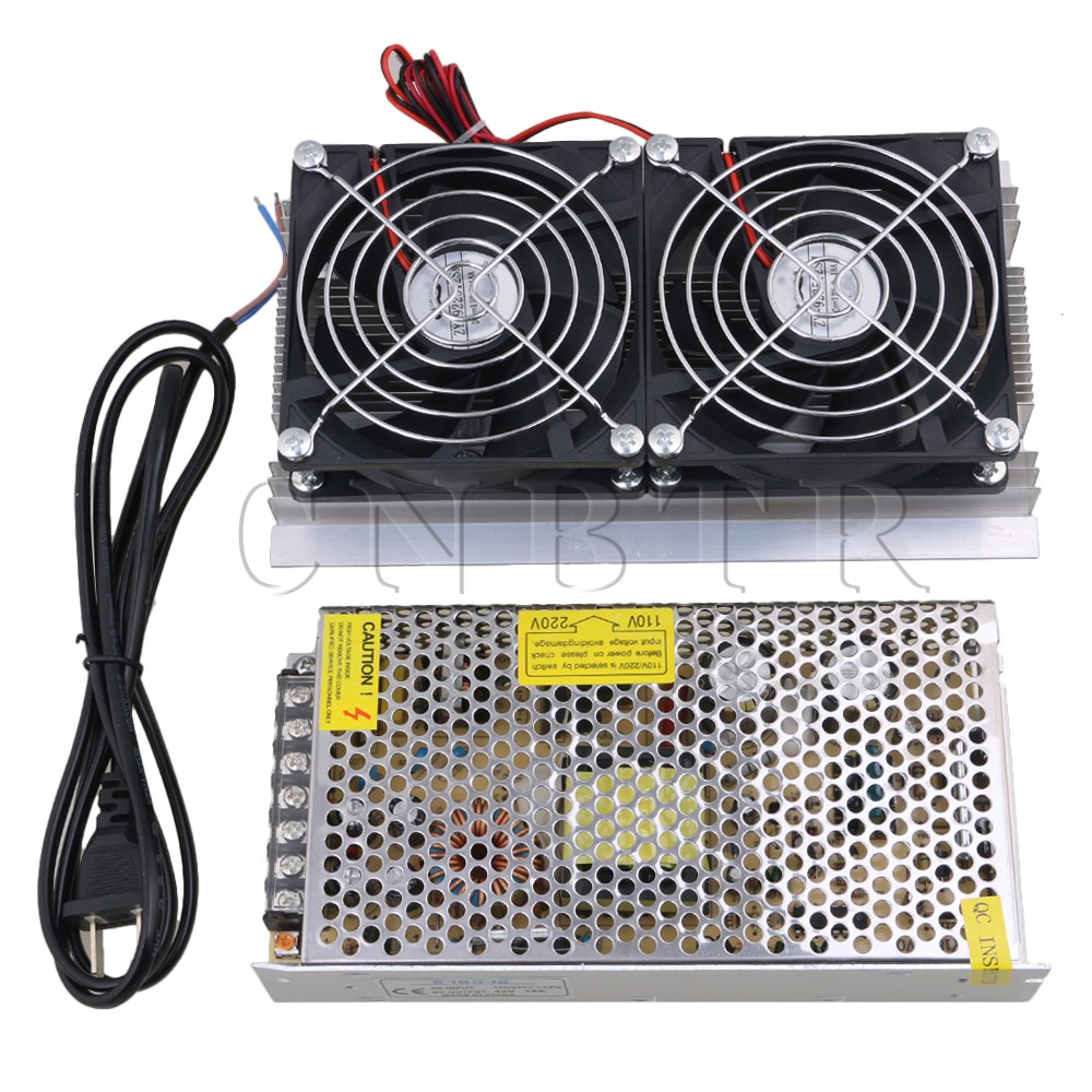 CNBTR 120W Thermoelectric Peltier Refrigeration Semiconductor Cooling System Kit DC12V Cooler Double Fan with Power Supply thermoelectric peltier refrigeration cooling cooler fan system heatsink kit
